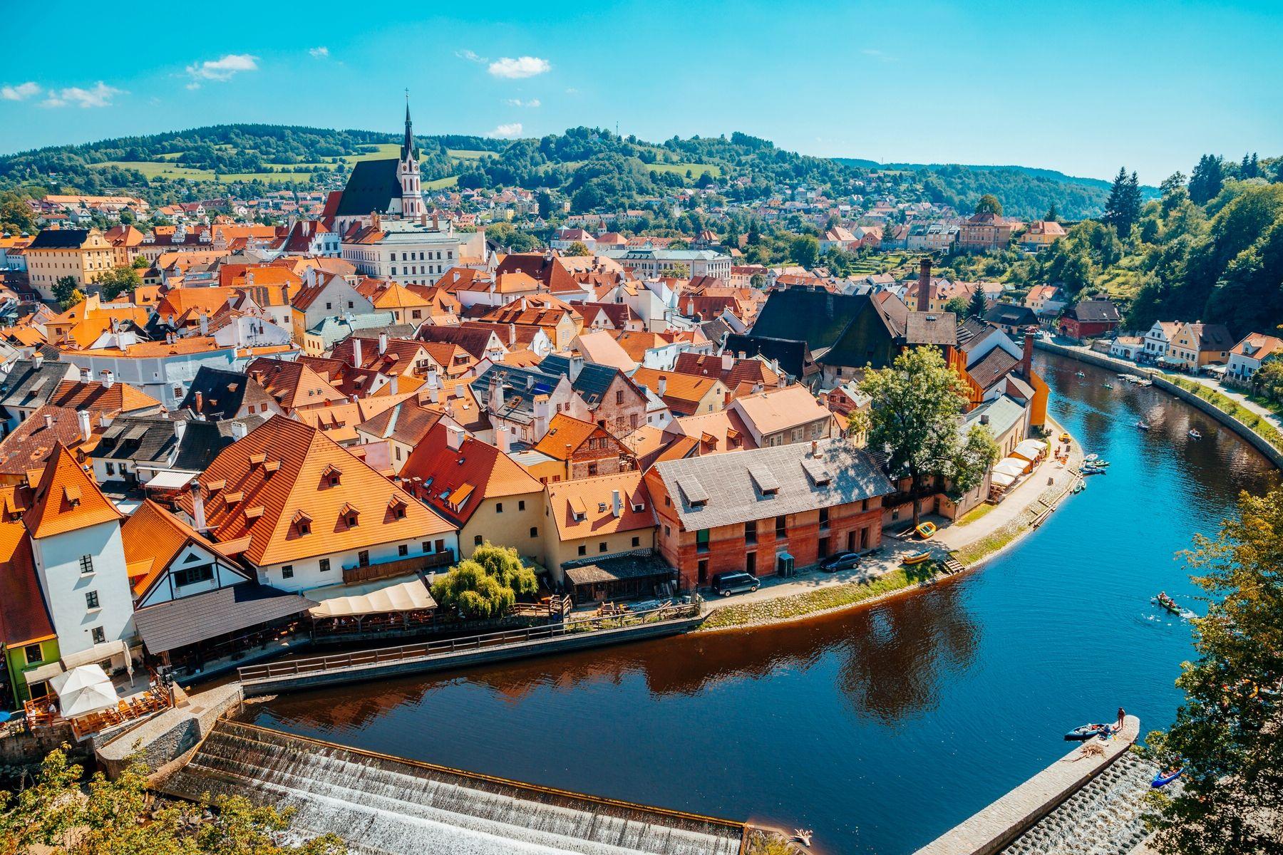 Туристический город Чески Крумлов в Чехии