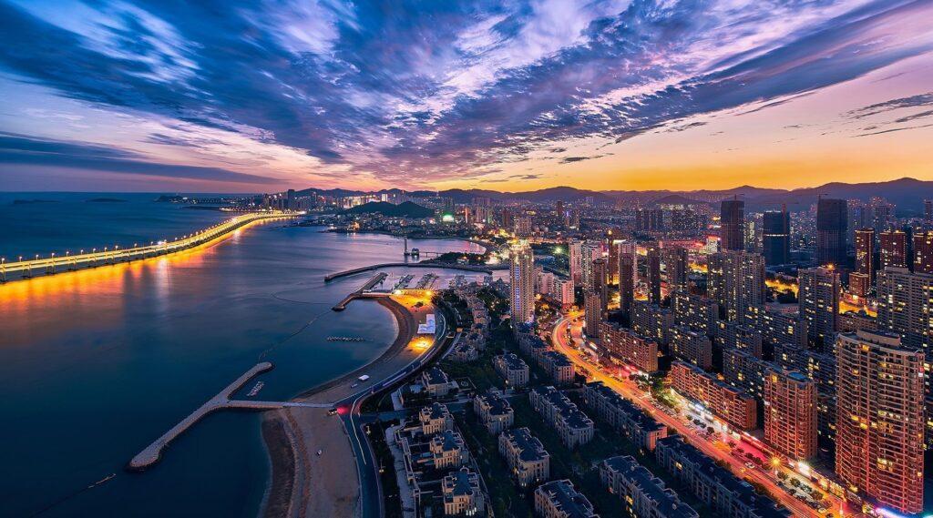Туристический город Далянь в Китае