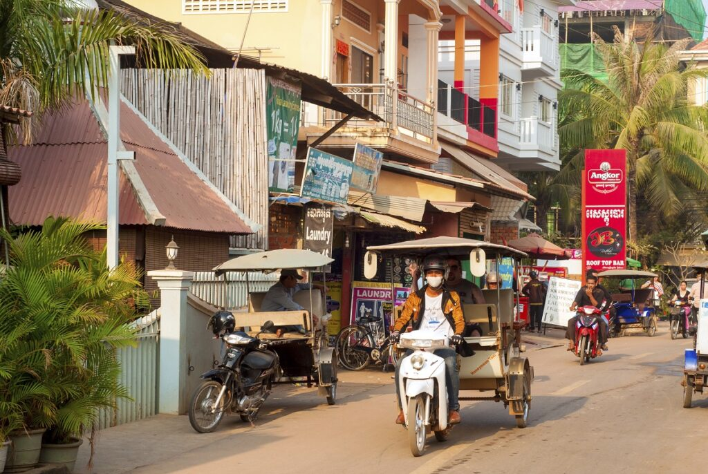 Улицы Города Сием Реап в Камбодже
